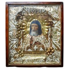 19th Century Greek Icon of St Anthony
