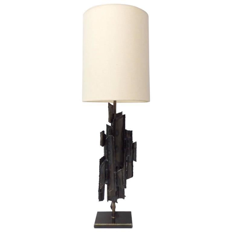 Torch Cut Brutalist Marcello Fantoni Table Lamp For Sale