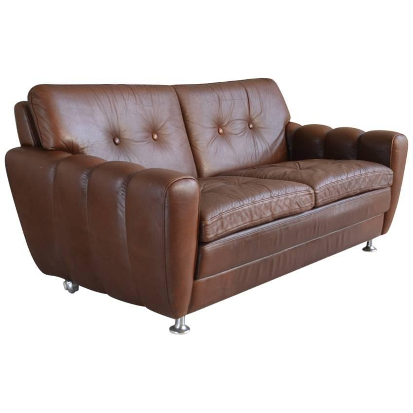 Danish 1970s skippers of mobler three seater brown leather for Tan couches for sale
