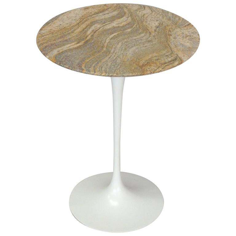 Early Cast Iron Base Saarinen For Knoll Tulip Side Table With Custom Granite  Top For Sale