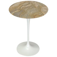 Early Cast Iron Base Saarinen for Knoll Tulip Side Table with Custom Granite Top