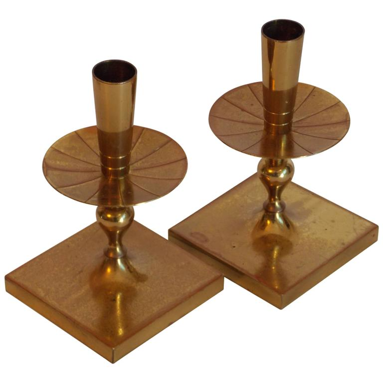 Tommi Parzinger Brass Candleholders At 1stdibs