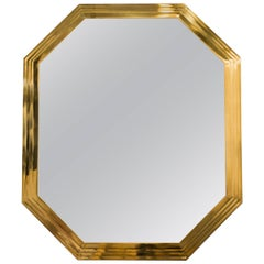 1970s Solid Brass Octogonal Mirror