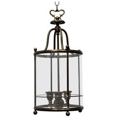 Restored 1930s Brass Lantern with Etched Glass