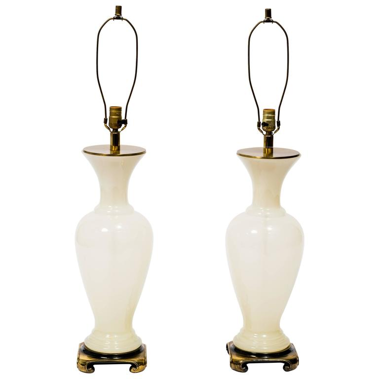 Pair of 1960s Opaline Glass Lamps