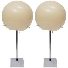 Pair of 1970s Paul Mayen  Plastic Bubble Lamps