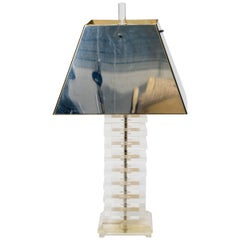 1970s Stacked Lucite Table Lamp with Chrome Shade