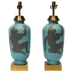 Pair of Gustavsberg Style Greek Figural Lamps