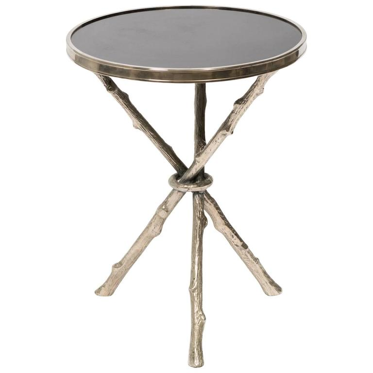 Beau Faux Bamboo Chrome And Granite Tripod Table For Sale
