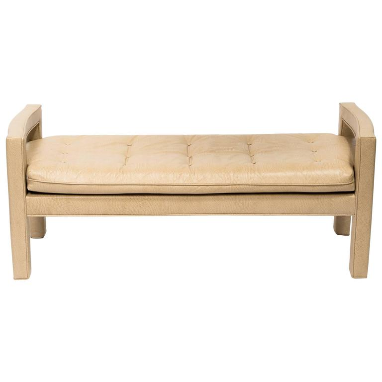Custom Faux Ostrich 1970s Bench For Sale