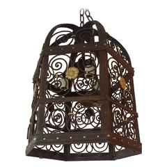 Late 19th Century Hexagonal Wrought Iron Lantern
