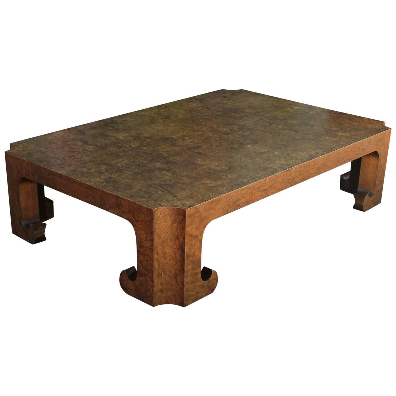 Burl Coffee Table Legs: Luxe Carpathian Burl Elm Ming Rectangular Coffee Table By