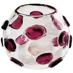 """Unique Murano Style """"Polka Dot"""" Glass Bowl, circa 1960s"""