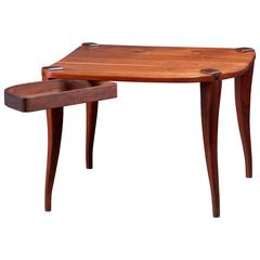 Unique Studio Crafted American Rosewood and Elm Swivel Drawer Coffee Table