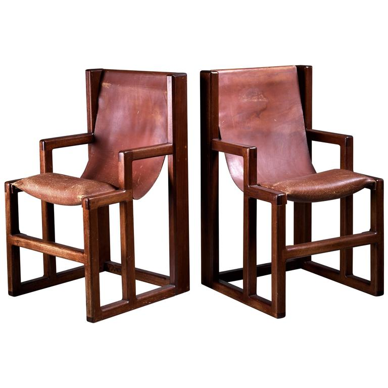 Attrayant Unique And Signed William Richardson Pair Of Studio Crafted Chairs, USA,  1970s For Sale
