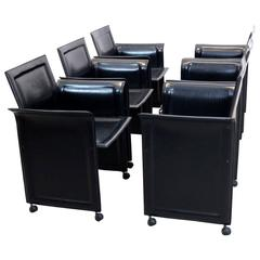 Set of Six Black Matteo Grassi Leather Diner Chairs, Italy, 1970s