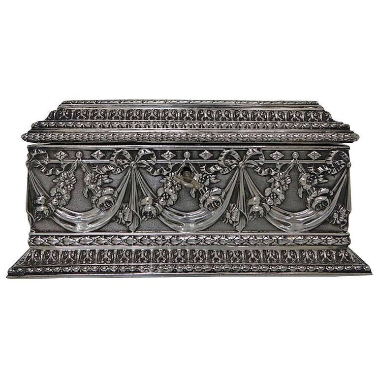 Antique Silver French Jewellery Casket, circa 1880