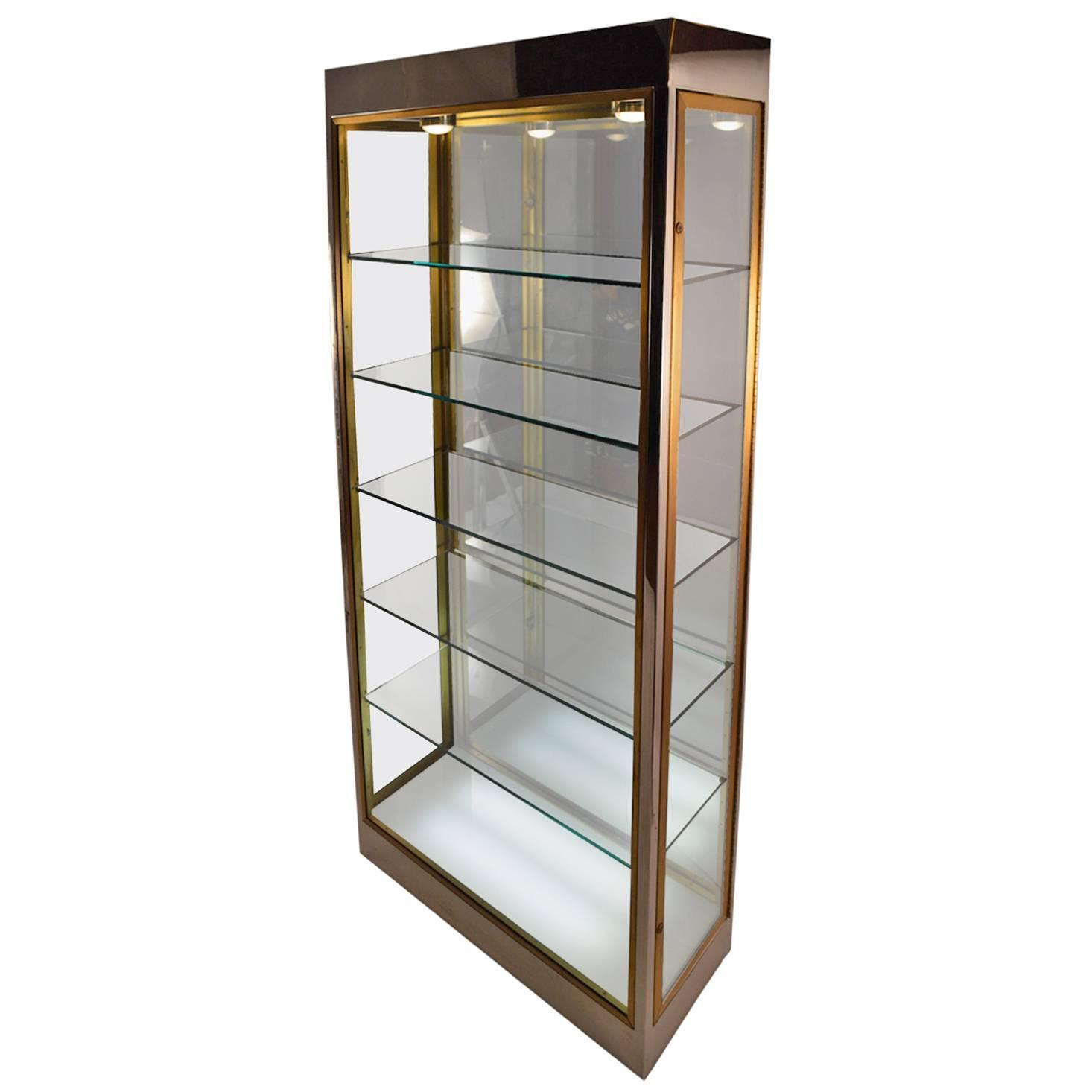 Elegant chrome and brass vitrine display cabinet at 1stdibs for Sideboard vitrine