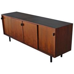 Early Walnut Knoll Sliding Door Sideboard with Leather Pulls