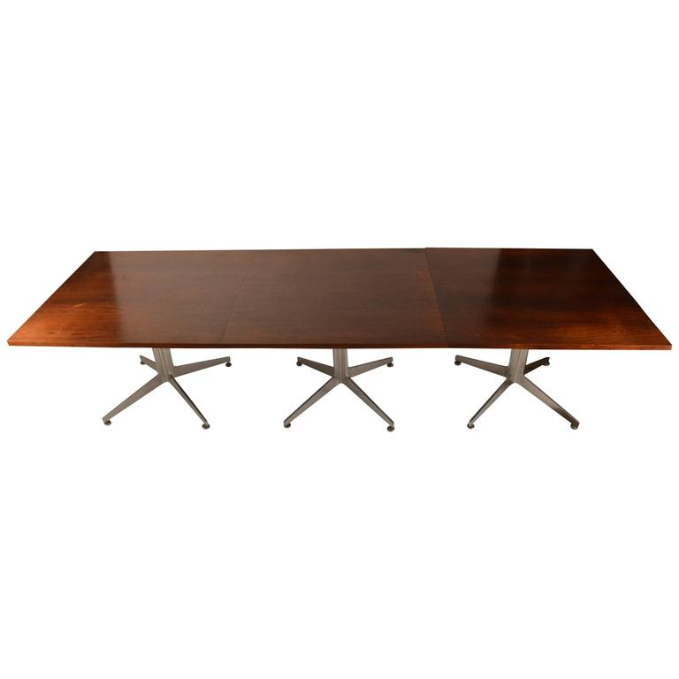 Large Ward Bennett Conference Dining Table with Rosewood Top