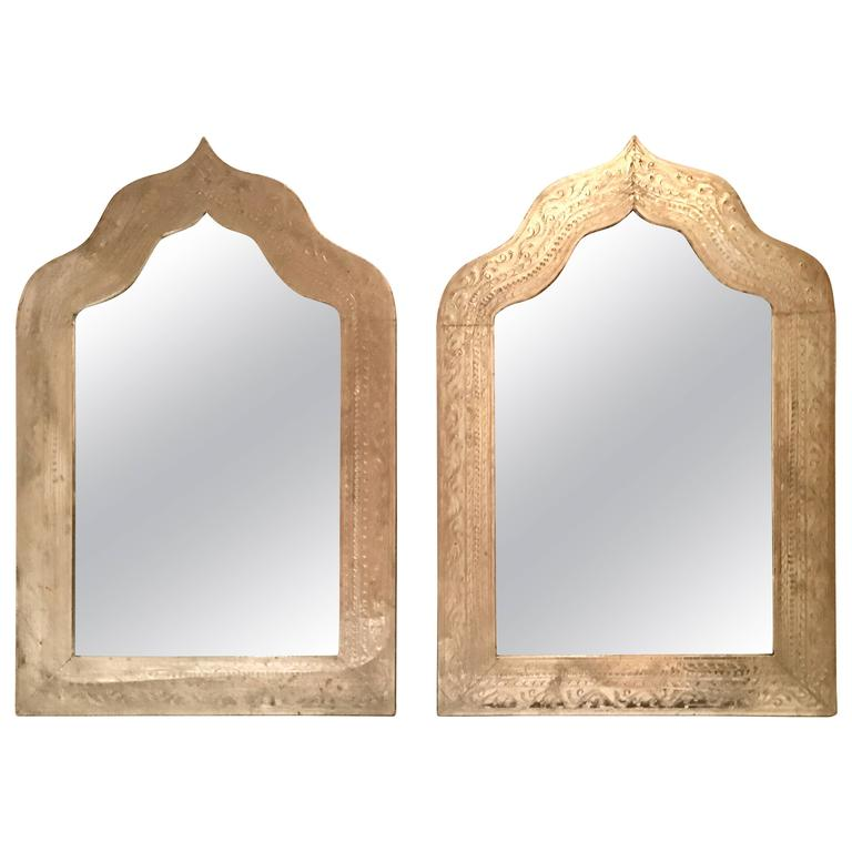 Pair Of Silver Plate Etched Arabesque Framed Mirror's At