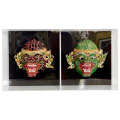 Pair of 20th Century Hand-Painted Masks Mounted in Lucite Shadow Box