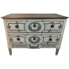 18th Century Neoclassic Walnut and Paint Commode, with Restored Walnut Top