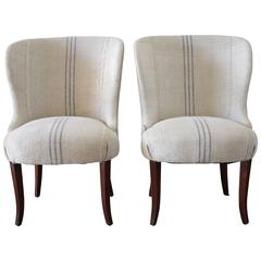 Pair of Ralph Lauren Wing Chairs in Antique French Linen Grain Sack
