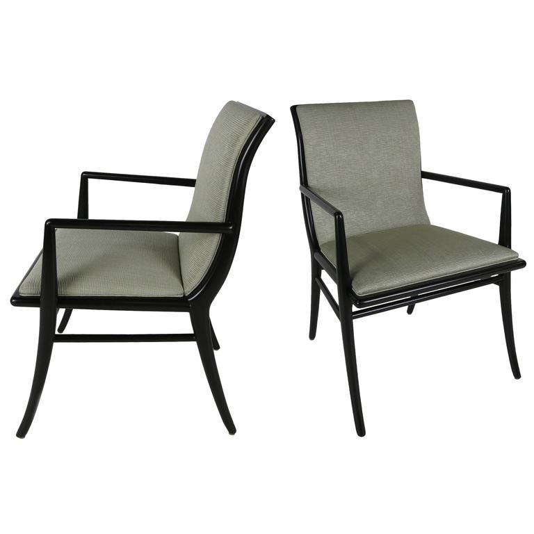 Pair of Saber Leg Armchairs by T.H. Robsjohn-Gibbings