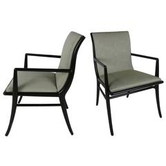 Pair of Saber Leg Armchairs by T.H. Robsjohn-Gibbings