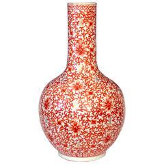 Large Old Chinese Porcelain Iron Red Lotus Scroll Bottle Vase Lamp