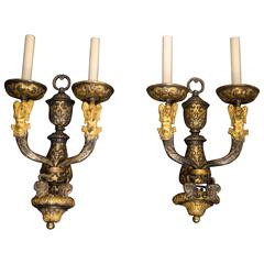 Antique Pair of E.F. Caldwell Mermaid Sconces