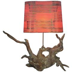 Vintage Driftwood Lamp with Funky Shade