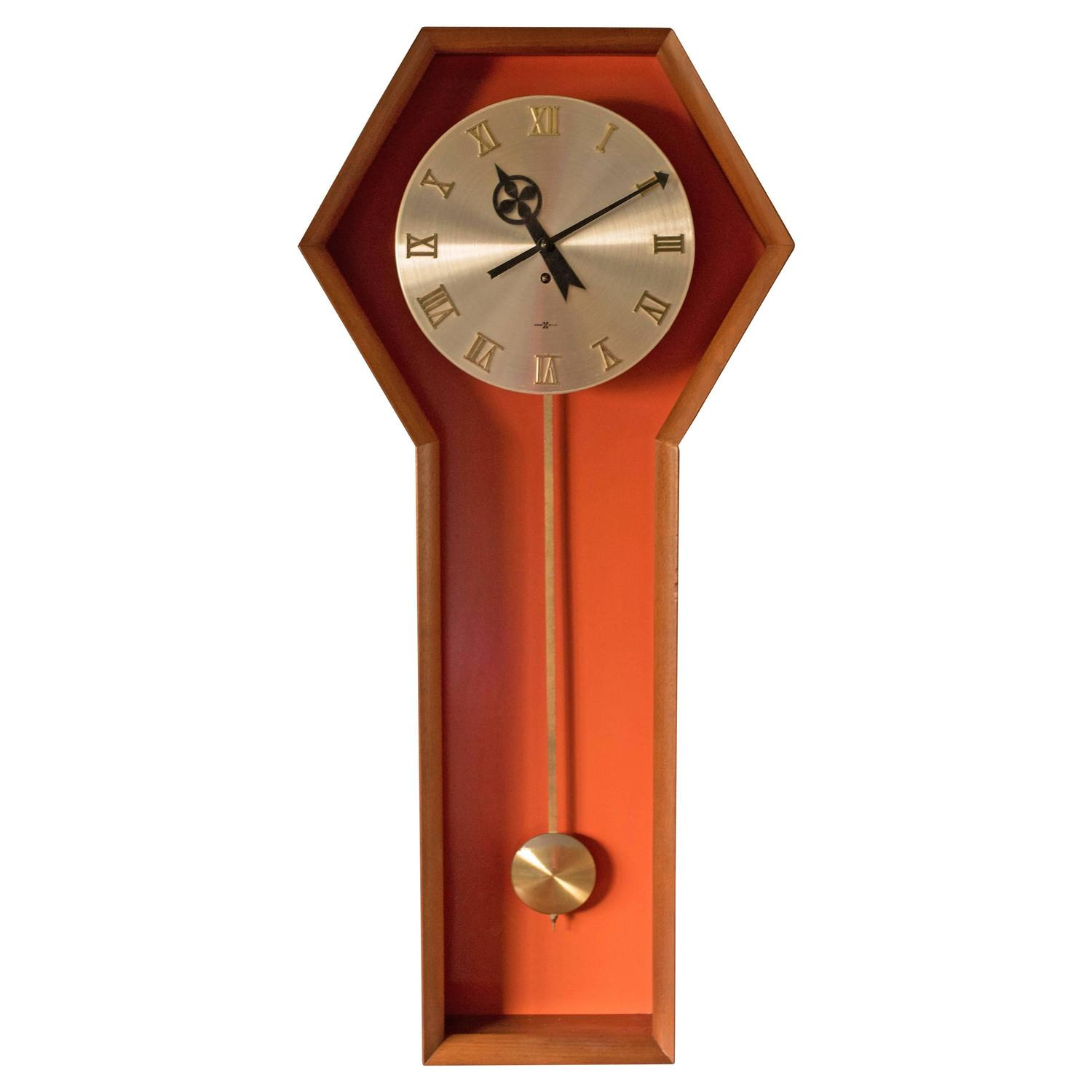 Vintage arthur umanoff pendulum clock for howard miller for sale at 1stdibs - Stylish pendulum wall clock ...