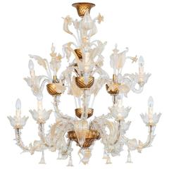 Italian Ca'rezzonico Chandelier in Murano Glass Gold, 1950s