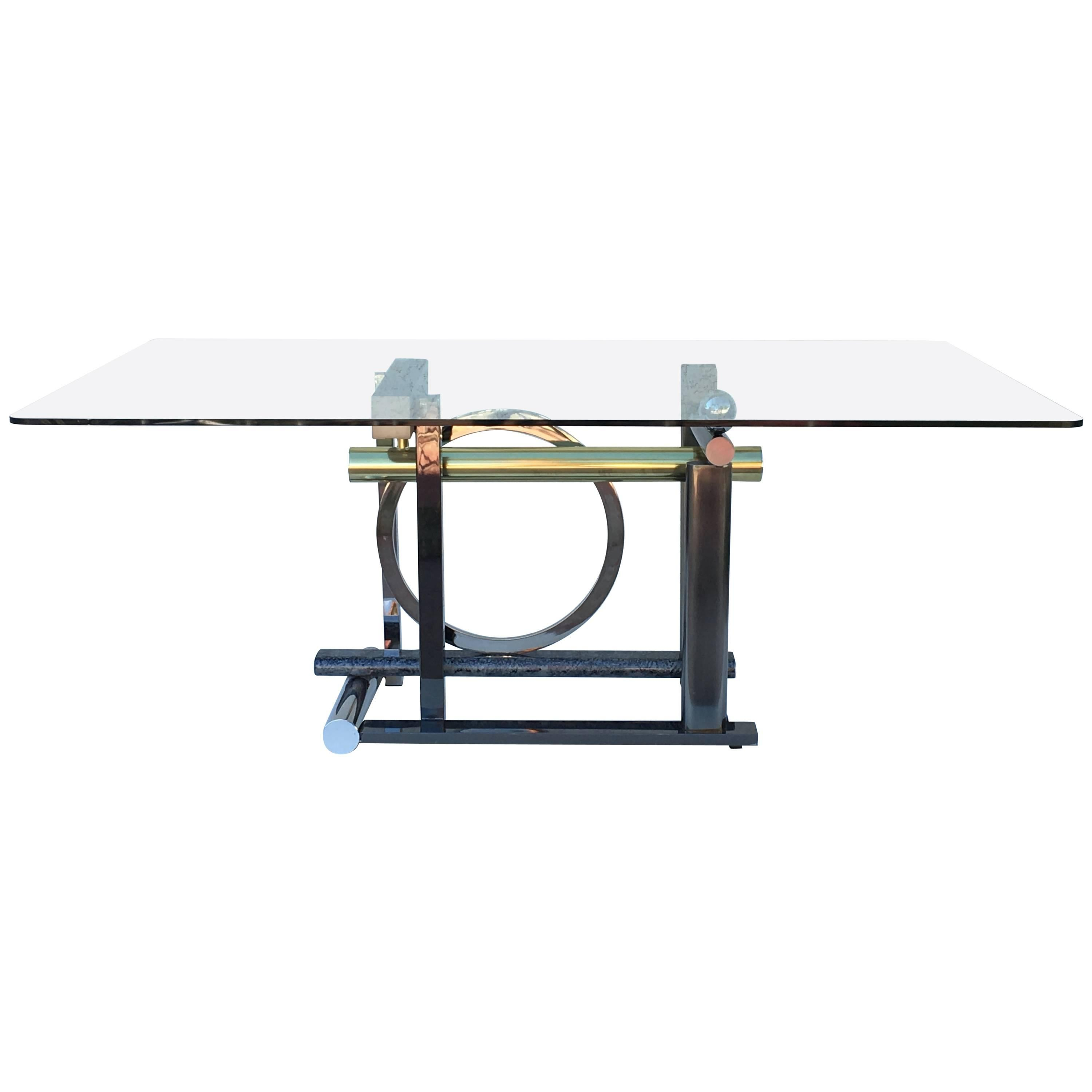 Postmodern Mix-Metals and Glass Dining Table by Kaizo Oto for DIA