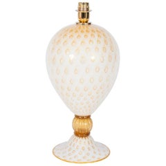 Italian Venetian, Table Lamp, blown Murano Glass, White & Amber finishes, 1980s