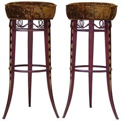 Pair of Art Deco Stools Attributed to René Prou, France, circa 1940s