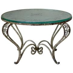 French 1940s Art Deco Coffee Table with St. Gobain Glass Top