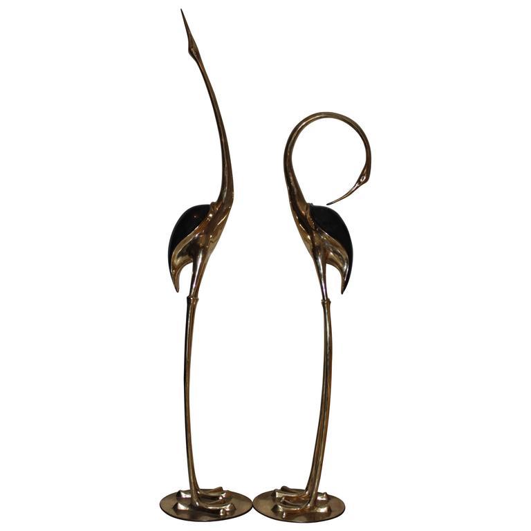 very large Brass Cranes, style of Boris Lovet Lorski 1970s, free shipping