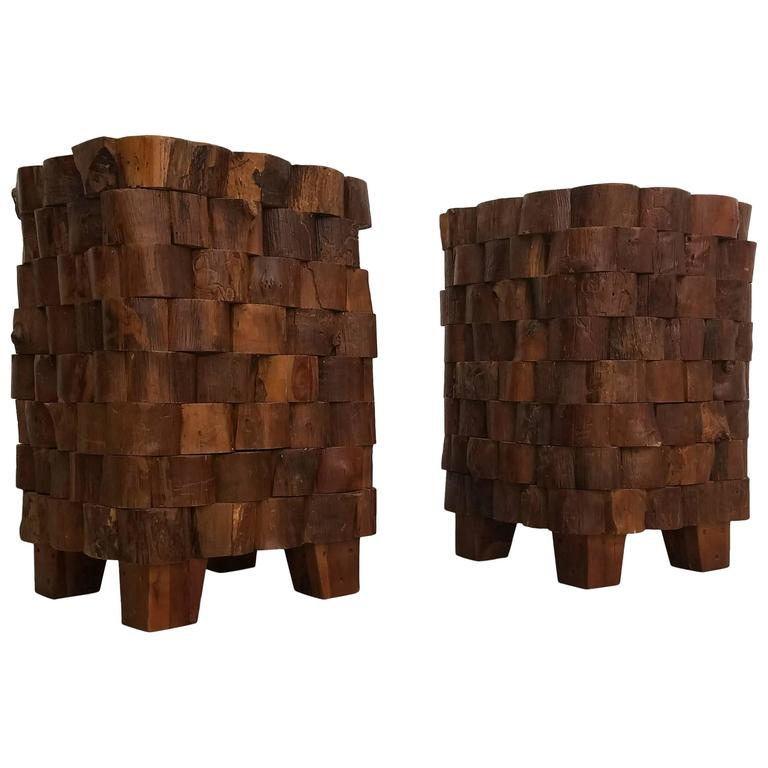 Pair Of Stacked Wood End Cut Live Edge Brutalist Style Primitive Side  Tables For Sale