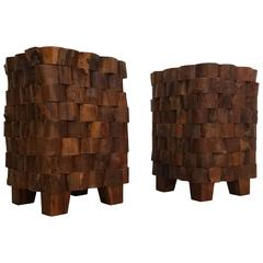 Pair of Stacked Wood End Cut Live Edge Brutalist Style Primitive Side Tables