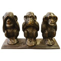 Monkeys on Base Sculpture in Vintage Brass Finish