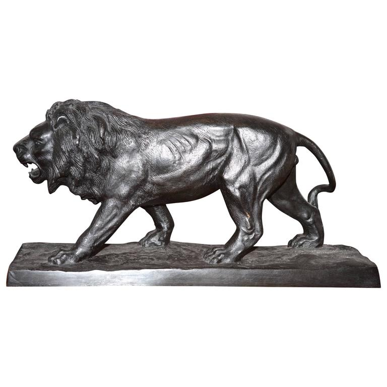 Lion Sculpture in Bronze Black Finish For Sale
