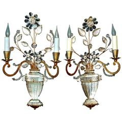 Pair of French Gilt Iron and Crystal Sconces, Maison Baguès, circa 1925