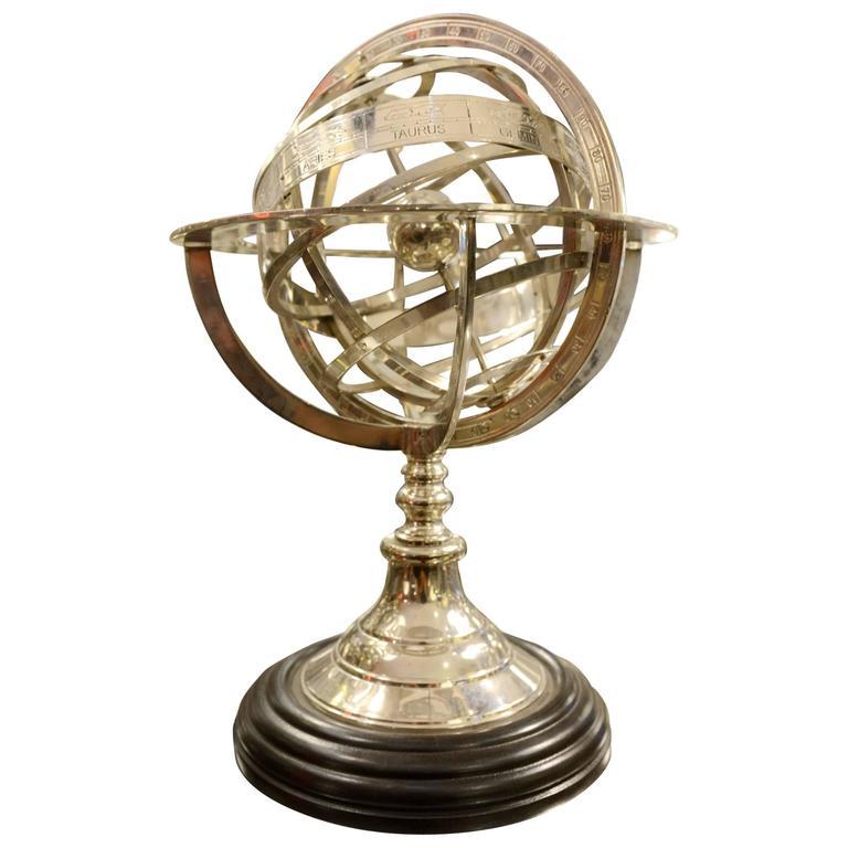 Astro Globe in Nickel Finish on Black Base