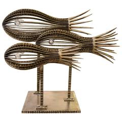 Sculpture Three Fishes in Handcrafted Wrought Iron with Crystal Eyes