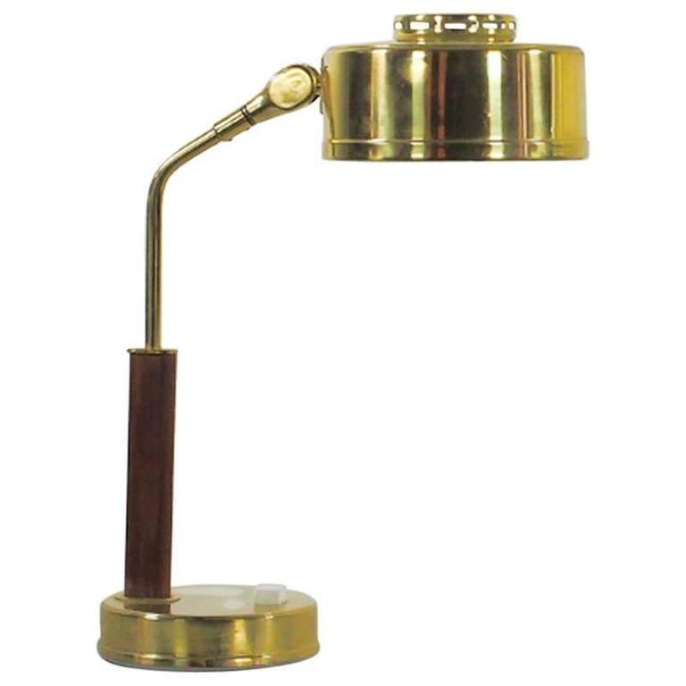 Brass Table Lamp With Wood Detail And Adjustable Screen At