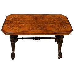 Burr Walnut Victorian Period Rectangular Antique Coffee Table