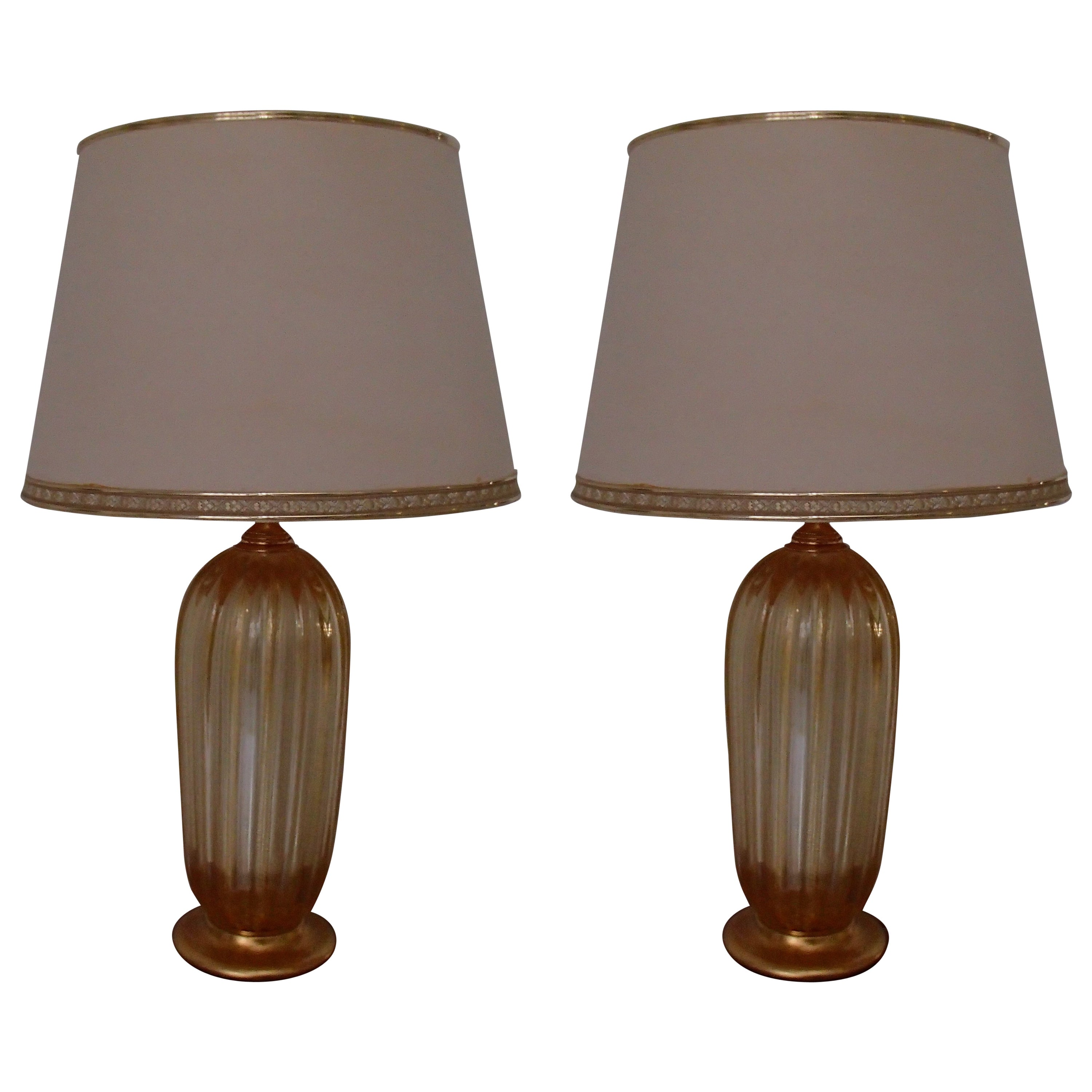 Pair of Tall Barovier e Toso Murano Table Lamps with Gold Inlays